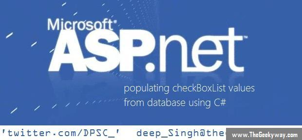 Populate checkboxlist from database using C#